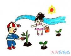 怎么画小朋友植树简笔画步骤涂色简单漂亮