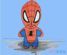 一年级蜘蛛侠简笔画怎么画涂颜色简单步骤