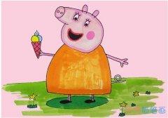 小猪佩奇猪妈妈怎么画涂色简单步骤教程