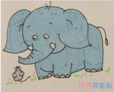 小学生简单大象的画法步骤教程涂色