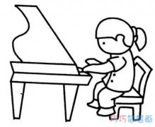 儿童钢琴演奏简笔画画法教程简单漂亮