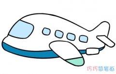 幼儿园飞机简笔画画法步骤教程涂颜色