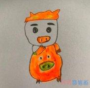 卡通猪猪侠的简单画法步骤教程涂色