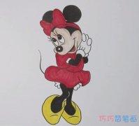 卡通迪士尼米妮简笔画怎么画带步骤涂色