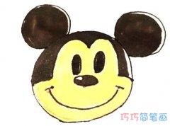 简单米老鼠头像怎么画涂色带步骤教程