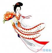 中秋节主题手绘嫦娥奔月怎么画涂色简单漂亮