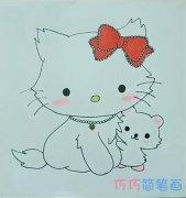 简单一只可爱Kitty猫的画法简笔画视频教程