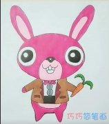 简单卡通红色可爱兔子的画法简笔画视频教程
