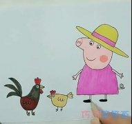 简单卡通猪奶奶和公鸡的画法简笔画视频教程