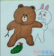 简单可爱布朗熊和可妮兔的画法简笔画视频教程