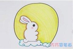 卡通中秋玉兔简笔画画法步骤教程涂色