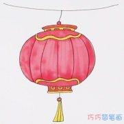 春节红灯笼的画法步骤教程涂色简单漂亮