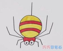 怎么画大蜘蛛简笔画步骤教程涂色简单