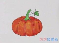 简笔画大南瓜的画法步骤教程涂色简单漂亮