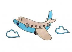 卡通飞机简笔画怎么画步骤教程图片涂颜色