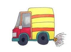 卡通洒水车简笔画怎么画步骤教程简单好看