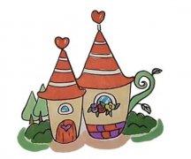 怎么画橘子小屋房屋城堡简笔画简单好看步骤教程