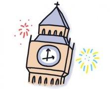 英国大本钟楼简笔画怎么画画法步骤教程涂颜色