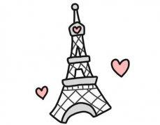 法国巴黎埃菲尔铁塔简笔画的画法步骤教程简单好看涂颜色
