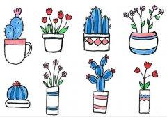仙人掌小花盆栽植物简笔画图片简单好看