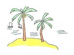 海边椰子树简笔画怎么画画法步骤教程简单易学