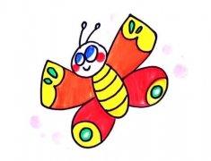 彩色蝴蝶简笔画怎么画画法步骤教程涂颜色