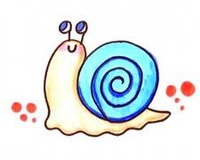 卡通彩色蜗牛简笔画怎么画画法步骤教程简单好看
