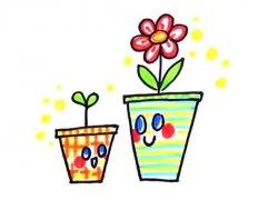 两盆可爱卡通小花的简笔画画法步骤教程简单好看涂颜色