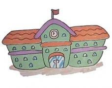 建筑物学校房子教学楼简笔画怎么画步骤教程简单好看