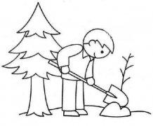 小学生植树节种树简笔画怎么画 孩子种树简笔画图片