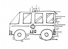 救护车简笔画图片涂色 救护车的画法图解教程
