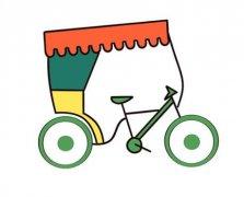 自行车简笔画图片涂色 三轮车的画法图解教程