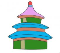 北京天坛怎么画带颜色好看 天坛儿童画图片