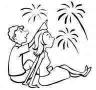一对情侣看烟花简笔画怎么画简洁漂亮