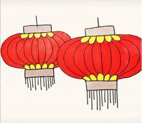 红灯笼怎么画简单又漂亮 灯笼简笔画教程