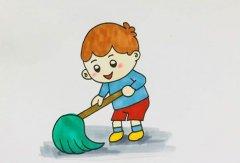 五一劳动节拖地板小男孩怎么画带步骤图