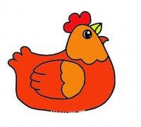孵蛋老母鸡怎么画涂色 母鸡简笔画图片