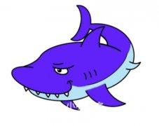 凶猛大鲨鱼怎么画涂色带步骤图简单