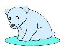 北极熊的画法步骤图涂色简单又好看